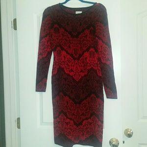 ECI sweater dress. Red chevron. Size L.